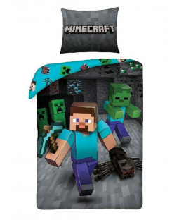 Set copripiumino singolo Minecraft Run - misura europea
