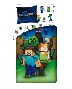 Set copripiumino singolo Minecraft Arrow in 100% cotone - misura europea