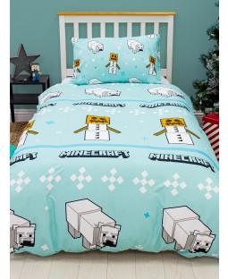 Minecraft Polarbear Rotary Single Duvet Cover and Pillowcase Set