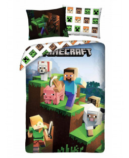 Minecraft Blocks Single Cotton Duvet Cover Set - European Size