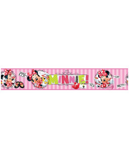 Minnie Mouse Pink Stripes Self Adhesive Wallpaper Border 5m