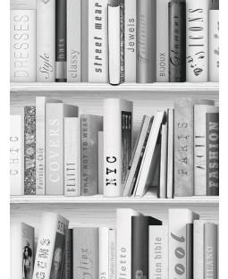 Fashion Library Bookcase Wallpaper - Silver - 139502