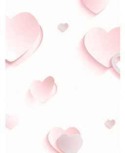 3D Hearts Glitter Wallpaper - Pink - J92603