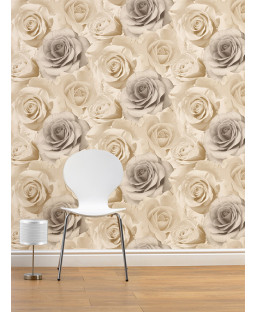 Madison Rose Floral Wallpaper - Natural - 119504