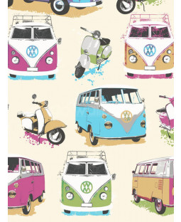 Muriva VW Campervans and Scooters Wallpaper - J05901