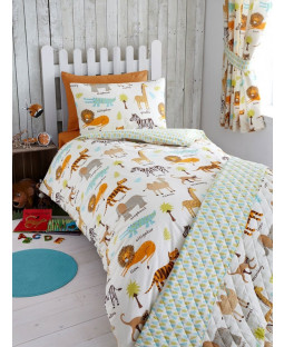 My Safari Animals Single Duvet Cover and Pillowcase Set