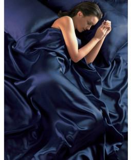 Funda nórdica de satén azul marino, juego de sábanas ajustables y fundas de almohada