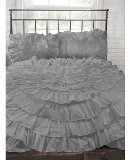 Naya Ruffle Silver Double Duvet Cover and Pillowcase Set