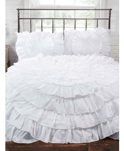Naya Ruffle White Double Duvet Cover and Pillowcase Set