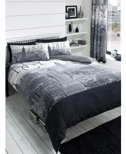 New York City Black King Size Duvet Cover and Pillowcase Set
