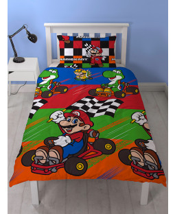 Nintendo Mario Champs Single Duvet Cover and Pillowcase Set