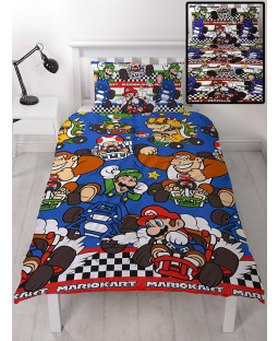 Nintendo Mario Racer Single Duvet Cover and Pillowcase Set