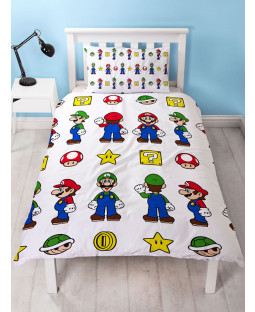 Nintendo Super Mario Stack Single Duvet Cover Bedding Set