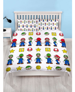 Nintendo Super Mario Stack Double Duvet Cover and  Pillowcase Set