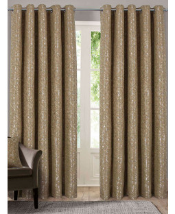 Belle Maison Lined Eyelet Curtains - Nova Range, Gold