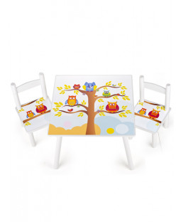 Owls Design Wooden Table and Chairs