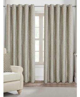 Belle Maison Lined Eyelet Curtains - Palermo Range, Mink