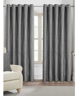 Belle Maison Lined Eyelet Curtains - Palermo Range, Silver