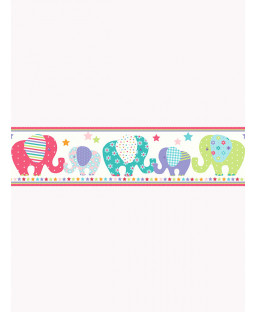 Price Right Home Patchwork Elephant Wallpaper Border - A130.AA