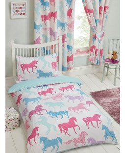 Patchwork Ponies 4 in 1 Junior Bed Set (Duvet, Pillow and Covers)
