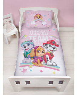 Paw Patrol Pastels 4 in 1 Junior Bedding Bundle Set (Duvet, Pillow and Covers)
