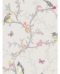 Phoebe Birds Wallpaper - Dove Grey - 98081