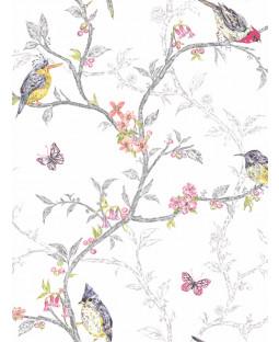 Phoebe Birds Wallpaper - White - 98080