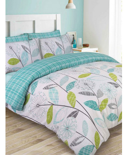 Allium Dandelion Double Duvet Cover and Pillowcase Set Teal
