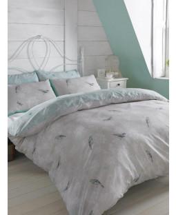 Vintage Birds Mint Double Duvet Cover and Pillowcase Set