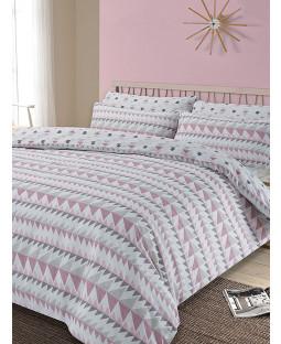 Rewind Geometric King Size Duvet Cover and Pillowcase Set - Blush
