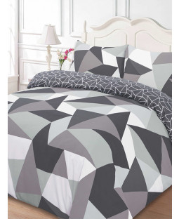 Shapes Geometric Double Duvet Cover And Pillowcase Set - Black