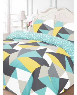 Shapes Geometric Single Duvet Cover and Pillowcase Set - Blue