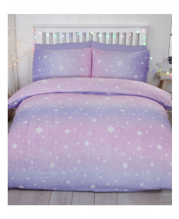 Starburst Brushed Cotton Double Duvet Cover Set - Blush