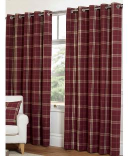 Belle Maison Lined Eyelet Curtains - Plaid Check Range, Raspberry