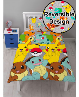 Set copripiumino reversibile singolo cattura Pokémon e set federa