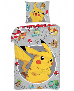 Pokémon Grey Single Cotton Duvet Cover and Pillowcase Set