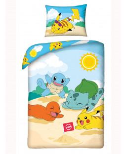 Set copripiumino singolo in cotone Pokémon Beach - Taglia europea