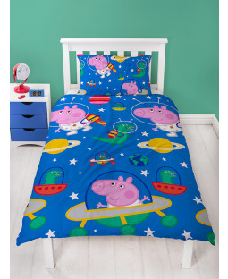 Peppa Pig George Planets Single Duvet Cover Bedding Set
