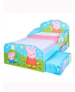 Peppa Pig Toddler Bed with Storage Drawers