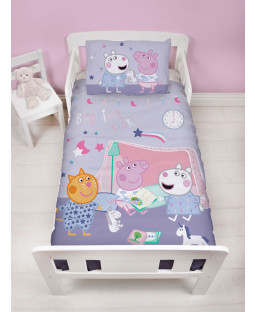 Peppa Pig Sleepy 4 in 1 Junior Bedding Bundle (Duvet, Pillow, Covers)