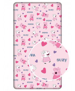 Peppa Pig Hearts Single Fitted Sheet