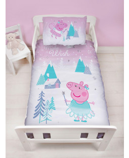 Peppa Pig Sugarplum 4 in 1 Junior Bedding Bundle Set (Duvet, Pillow and Covers)
