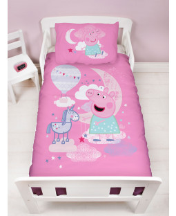 Peppa Pig Stardust 4 in 1 Junior Bedding Bundle Set (Duvet, Pillow and Covers)