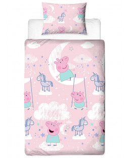 Peppa Pig Stardust Single Duvet Cover Set - Rotary Design