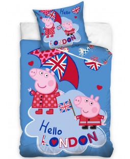 Ensemble de housse de couette simple Peppa Pig London - Taille européenne