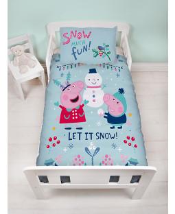 Peppa Pig Snowman Panel Junior Duvet Cover and Pillowcase Set