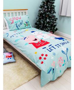 Peppa Pig Snowman Panel Single Duvet Cover and Pillowcase Set