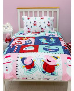 Peppa Snowman Rotary Single Duvet Cover and Pillowcase Set