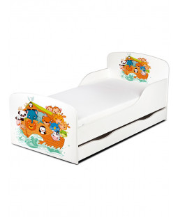 PriceRightHome Noah's Ark Animals Toddler Bed with Underbed Storage