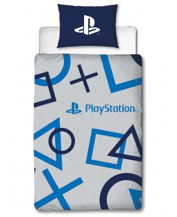 Set copripiumino singolo e federa blu Playstation